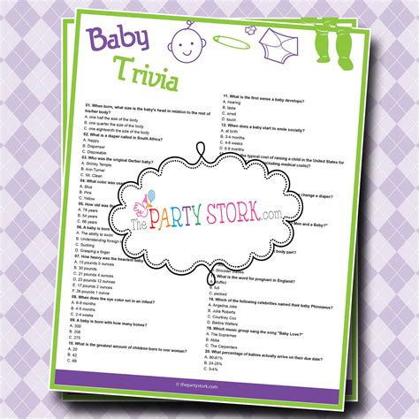 printable quiz for baby shower baby shower trivia game baby shower game printable for boy or
