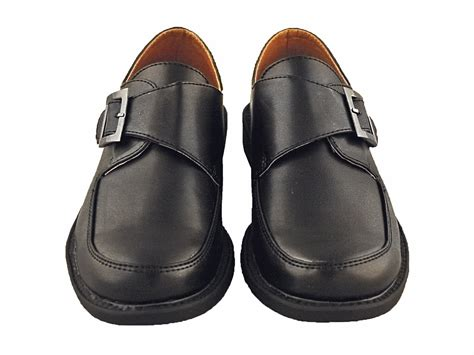 boys black dress shoes with velcro buckle
