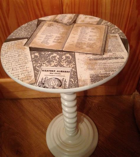 Decoupage Books - image result for decoupage a table top with book pages