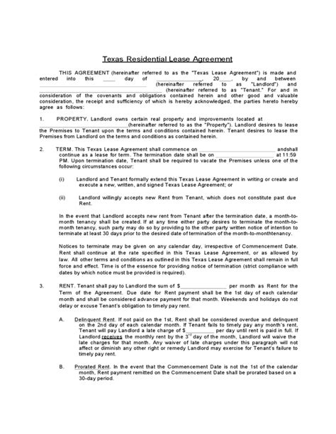 standard lease agreement standard residential lease agreement form free