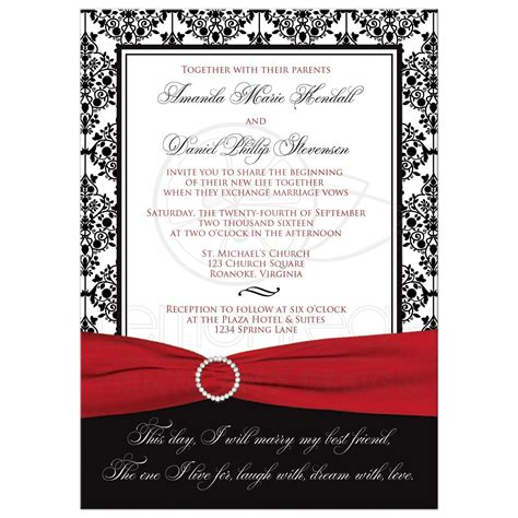 Wedding Invitations Black by Wedding Invitation Black White Damask Printed