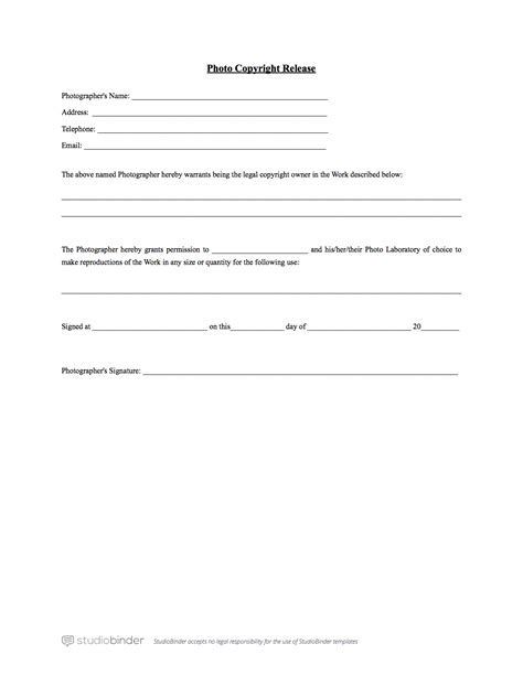 photo release form template simple photography release forms search engine at