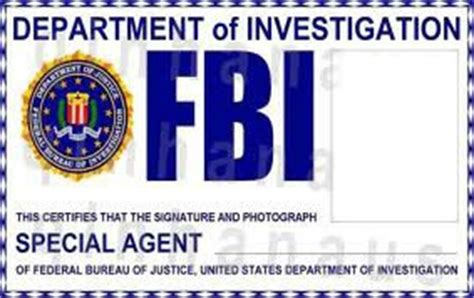 fbi id card template montage photo cartes fbi pixiz