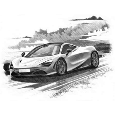 mclaren logo drawing mclaren 720s coupe personalised car prints