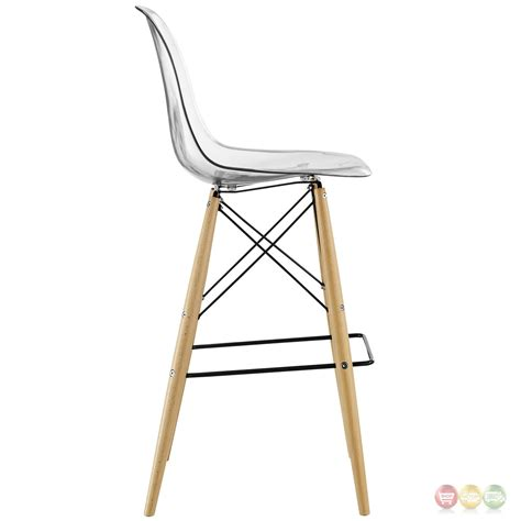 bar stools wooden legs pyramid modern molded plastic bar stool with wood legs clear