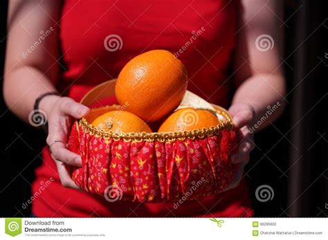 new year gift oranges with orange basket for new year gifts stock