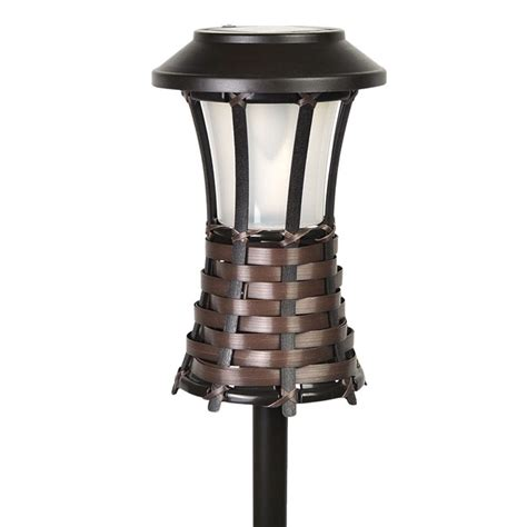 Solar Powered Torch Lights Brown Woven Torch Light Solar Powered Led