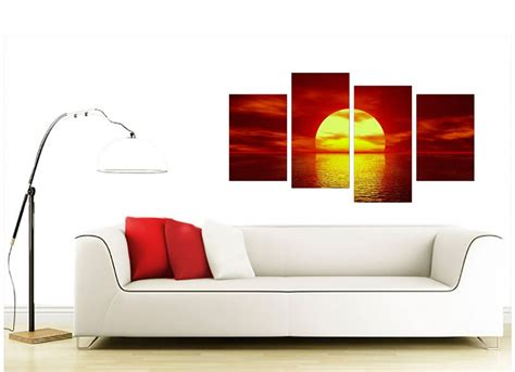living room canvas sunset canvas wall art in red for living room