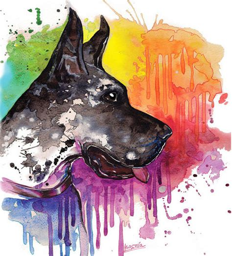 great dane watercolor print home decor watercolor