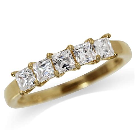 5 white cz 14k gold plated 925 sterling silver ring