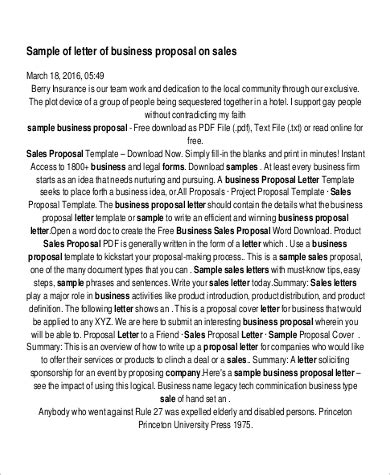 Business Proposals Sles by Sle Sales Letter 6 Exles In Pdf Word