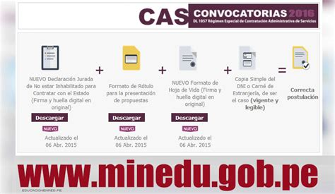 conviocatoria minedu 2016 minedu convocatoria cas enero 2016 137 puestos de