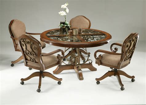Dinette Chairs 5 Dinette Set With Caster Chairs Cherry Finish