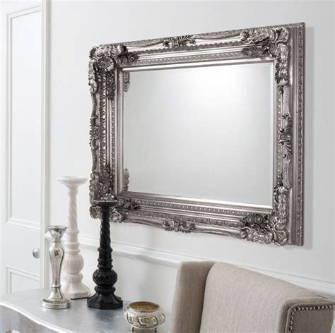 wall mirrors carved ornate framed silver wall mirror mirror