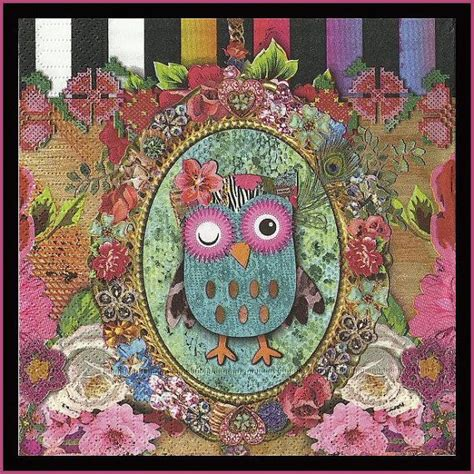 Owl Decoupage - 4 napkins owl paper decoupage napkins use for crafts