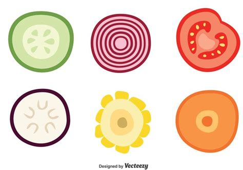 vegetables vector slice of vegetable vector icons free vector