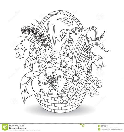 doodle art flowers floral pattern stock vector image