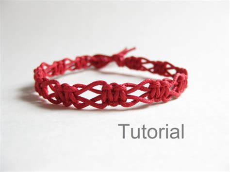 Macrame Patterns For Beginners - beginners macrame knotted bracelet pdf tutorial by