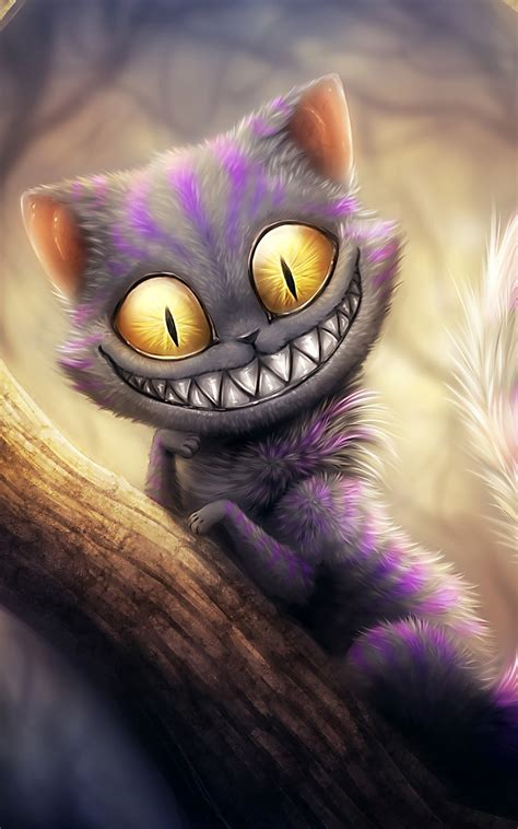 Cheshire Cat Wallpaper Android | funny cheshire cat illustration android wallpaper free