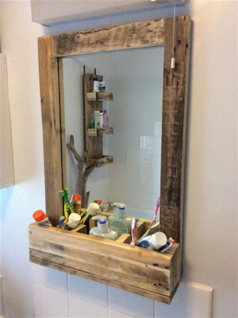 how to frame a bathroom mirror with wood pallet mirror frame pallets designs