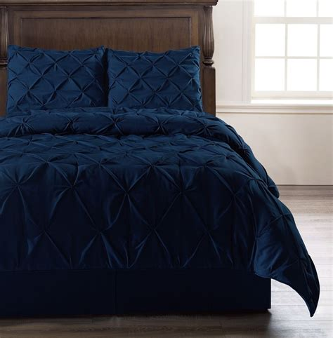 bed comforter covers pinch pleat navy blue bedding 4 piece comforter set cal