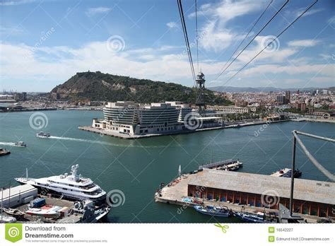barcelona port cable car royalty free stock photography