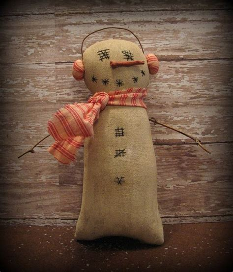 primitive winter snowman christmas decoration by