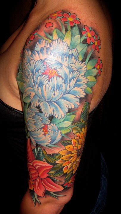 old line tattoo japanese flower olde line