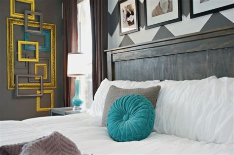 Teal And Grey Bedroom Walls by Gray White Teal Yellow Chevron Bedroom