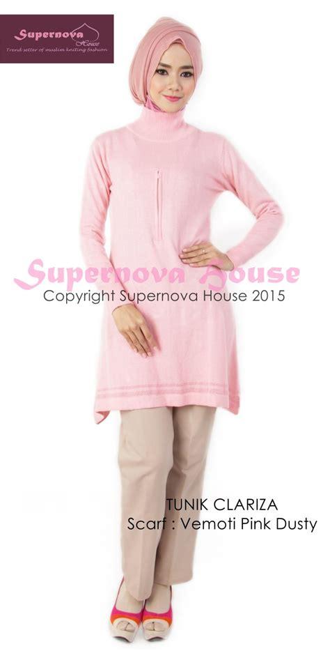 Tunik Fitria tunik clariza pink baju muslim gamis modern