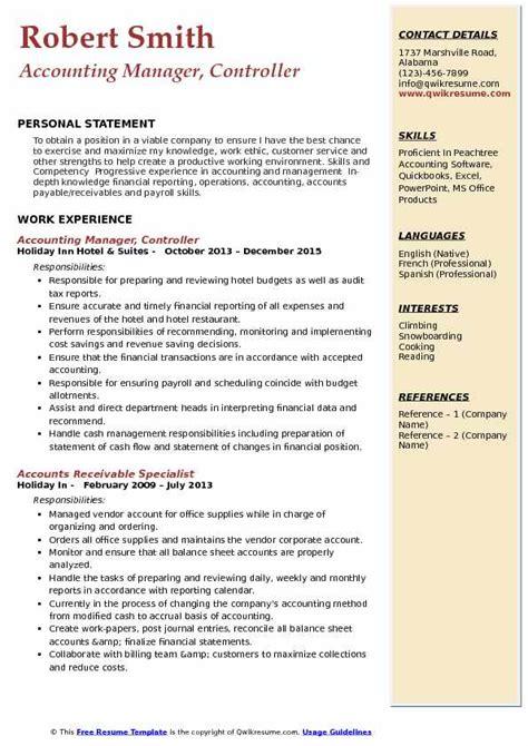Description Resume Controller Accounting Manager by Accounting Manager Controller Resume Sles Qwikresume