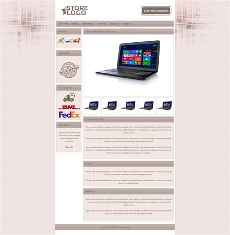ebay auction listing html template with dynamic categories
