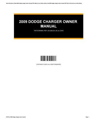 2009 Dodge Charger Owner Manual By Angela Issuu