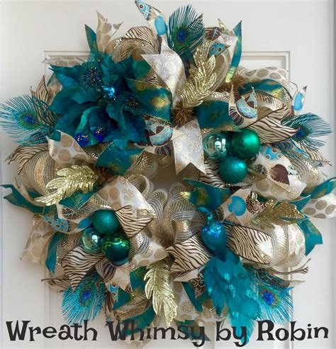 cross wreath country home decor black and gold wooden peacock teal cream gold holiday deco mesh wreath christmas