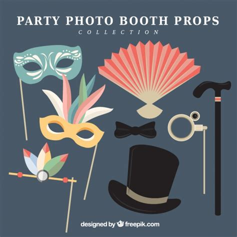 design photo booth props set of party photo booth props in flat design vector