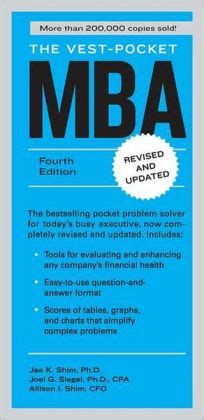 Pocket Mba Book by The Vest Pocket Mba Fourth Edition By Shim