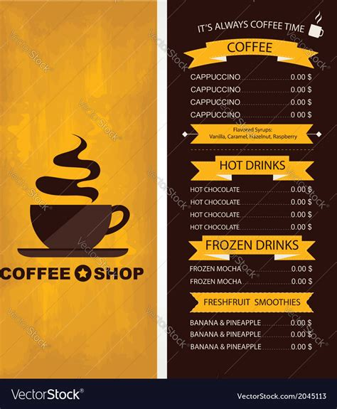 Coffee House Menu Restaurant Template Design Vector Image Coffee House Menu Template