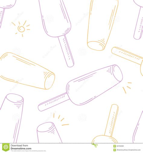 doodle ice cream pattern stylized seamless pattern with doodle ice cream stock