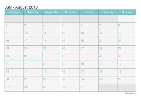 Calendar 2018 July August September July And August 2018 Printable Calendar Icalendars Net