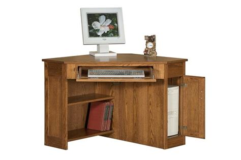 Wooden Corner Desks Amish Arts And Crafts Corner Computer Desk With Cpu Storage