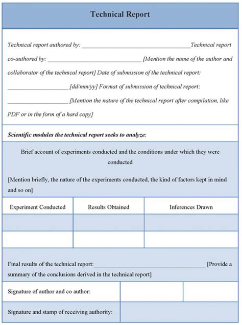 technical report template template business