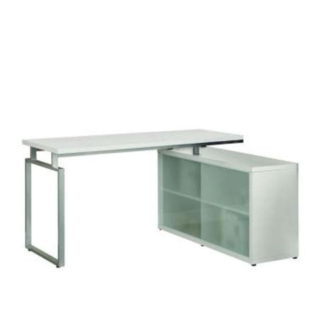 Monarch L Shaped Desk Monarch Specialties Hollow L Shaped Desk With Frosted Glass In White I 7036 The Home Depot