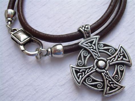 leather necklace celtic cross pendant s cross