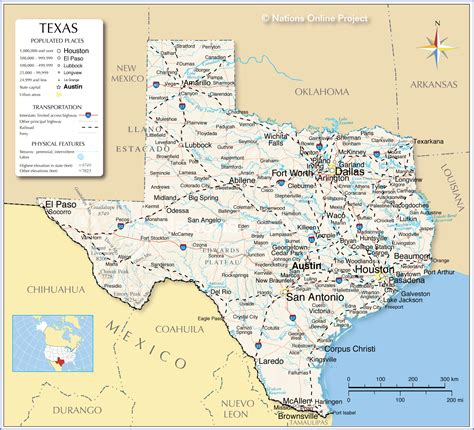 map of texas showing reference map of texas usa nations project