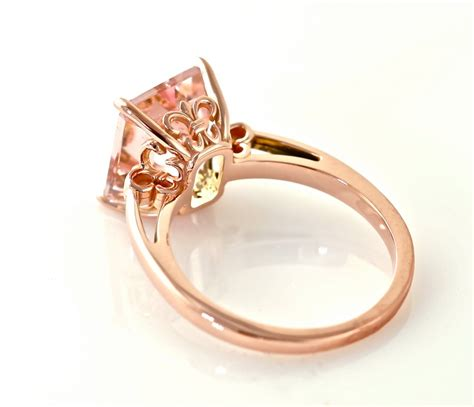 emerald cut morganite ring 14k gold custom gemstone
