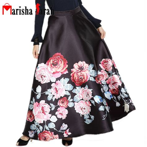 Flower Skirt Rok runway european high waist pleated skirt