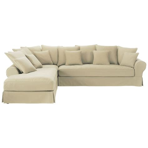 6 Seater Corner Sofa by 6 Seater Putty Coloured Cotton Left Corner Sofa