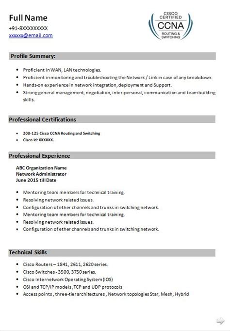 network engineer sle resume for freshers ccna resume format 28 images ccna resume format ccna