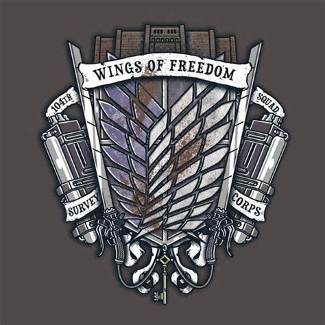 wings of freedom tattoo survey corps crest t shirt 12 99 attack on titan at
