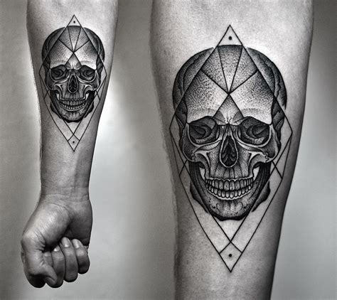 geometric dotwork tattoo designs dotwork with skull and geometric
